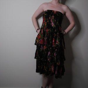 Tiered Black Floral Print Elastic Skirt / Dress